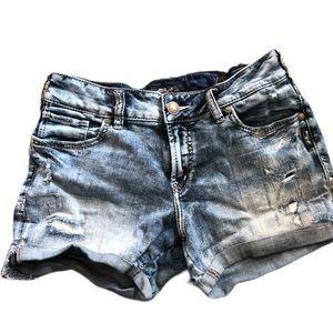 Silver shorts 28 waist distressed denim look
